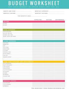 budget worksheet pdf free printable budget worksheet download