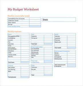 budget worksheet pdf my budget worksheet pdf template free download