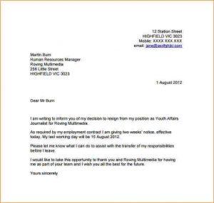 buisness letter format week notice resignation resignation letter template with week notice