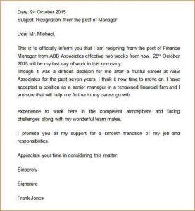 buisness letter format weeks notice letter retail manager resignation letter