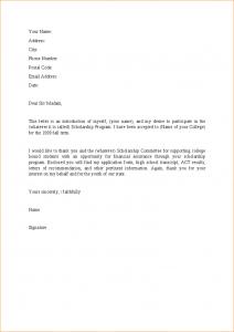 buisness letter format a letter for scholarship letter to apply for scholarship