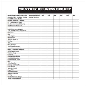 business budget template monthly business budget template pdf