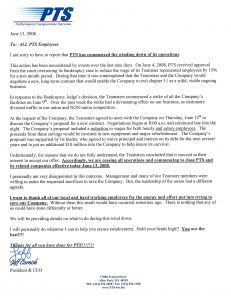 business closing letter the end of pts