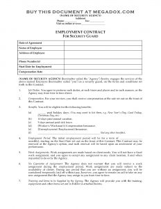 business contract template security guard employment contract