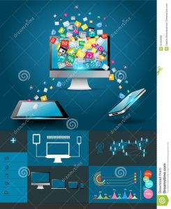 business credit application template vector computer mobile phones colorful applic creative cloud application icon business software social media