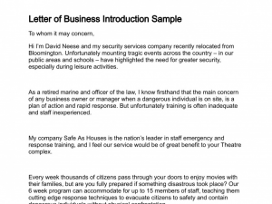 business introduction letter letter of business introduction sample