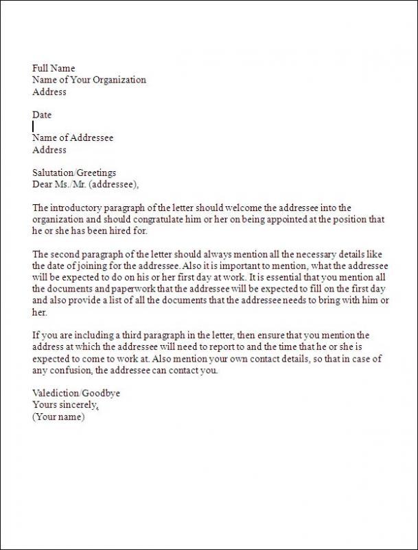 business letter form