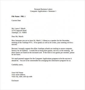 business letter format example personal business letter example