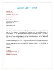 business letter layout formal business letter