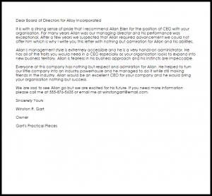 business letter of recommendation ceo recommendation letter
