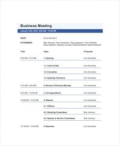 business meeting agenda template example business vendor meeting agenda