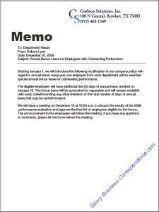 business memo format announcementmemo