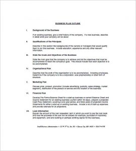 business plan outline business plan outline example1