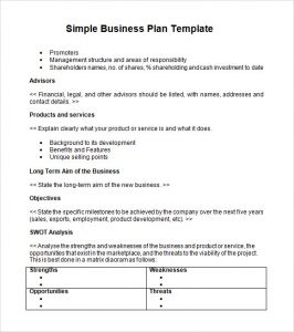 business plan outline simple business plan template word1