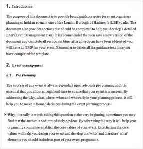business plan outline template parks event guidance notes and emp template feb