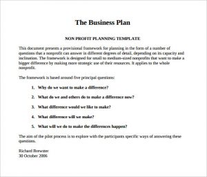 business plan template pdf the business plan nonprofit pilot template pdf free download