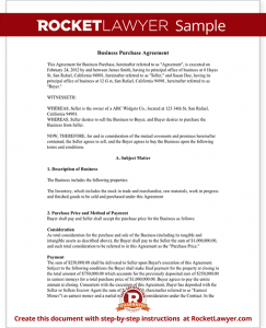business purchase agreement template sample business purchase agreement form template