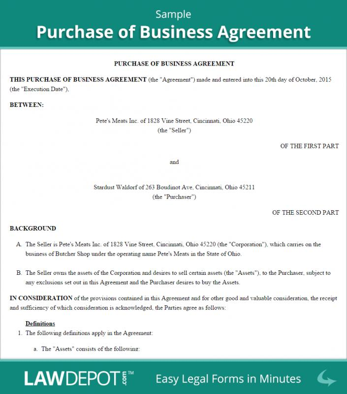 business purchase agreement template