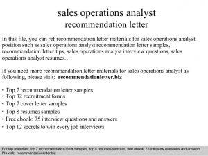 business recommendation letter sales operations analyst recommendation letter
