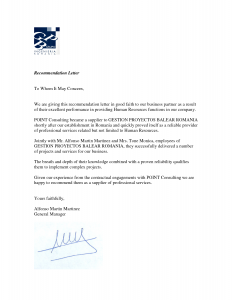 business reference letter business recommendation letter sample