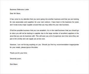 business reference letter business reference letter free printable