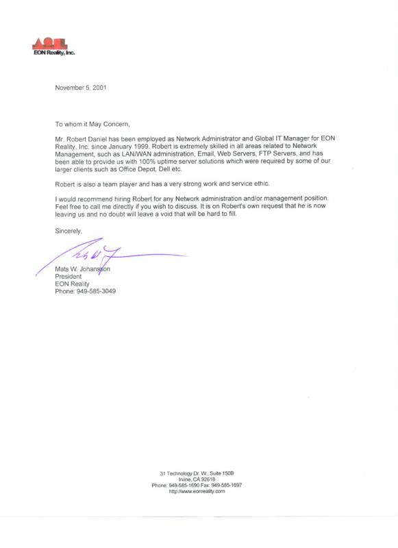 business reference letter