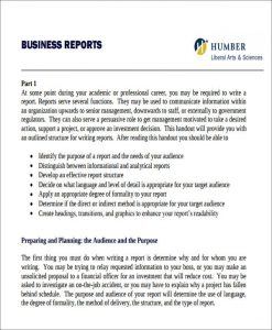 business report example formal business report example