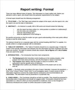 business report example formal report template free pdf