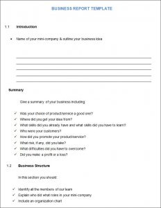 business report format student business report template