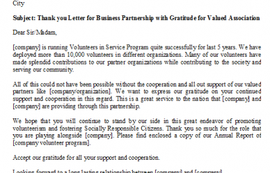 business thank you letter thank you letter for business partnership with gratitude for valued association