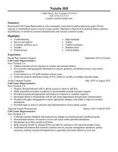 call center resume sample call center customer service representative resume natalie hill