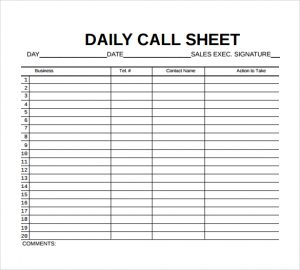 call sheet template daily call sheet template