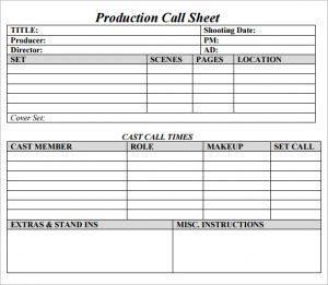call sheet template production call sheet