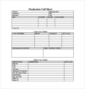 call sheet template production call sheet free pdf template download