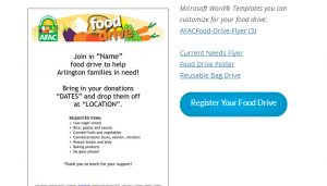 can food drive flyer afac