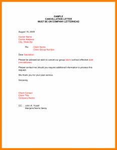 cancellation letter template policy cancellation letter cancellation letter samples image x