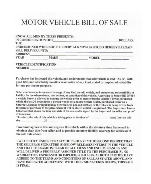 car bill of sale ga