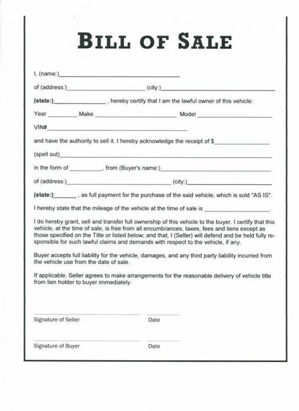 car bill of sale pdf