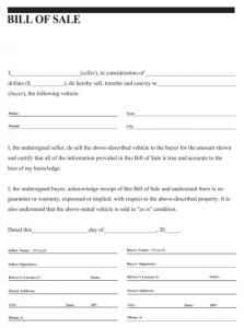 car bill of sale pdf general vehicle bill of sale form