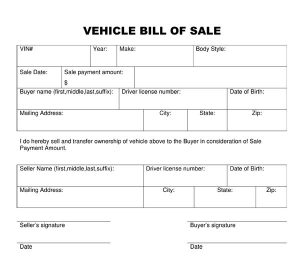 car bill of sale template bill of sale vehicle template