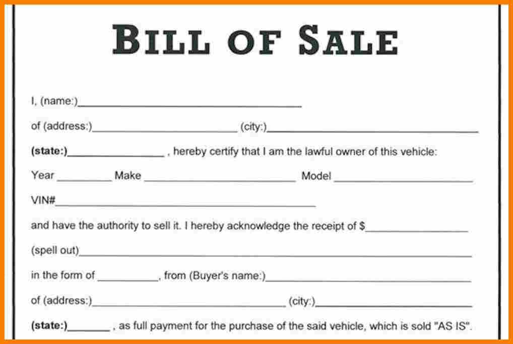 car bill of sale template word