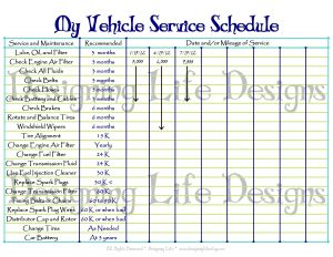 car maintenance schedule printable my vehicle care schedule blue used original