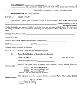 car rental contract facility rental contract template