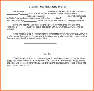 car sale receipt car deposit receipt template receipt for non refundable deposit