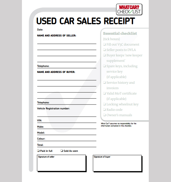 car sale receipt template