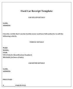 car sale receipt template used car receipt template
