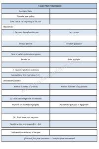 cash flow analysis template cash flow statement form