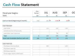 cash flow statement template excel lt