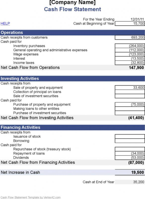 cash flow statement template excel