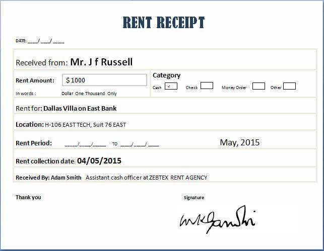 cash receipt template excel